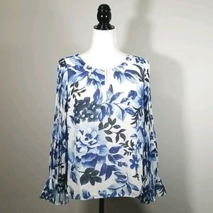Talbots Floral Print Lined Blouse